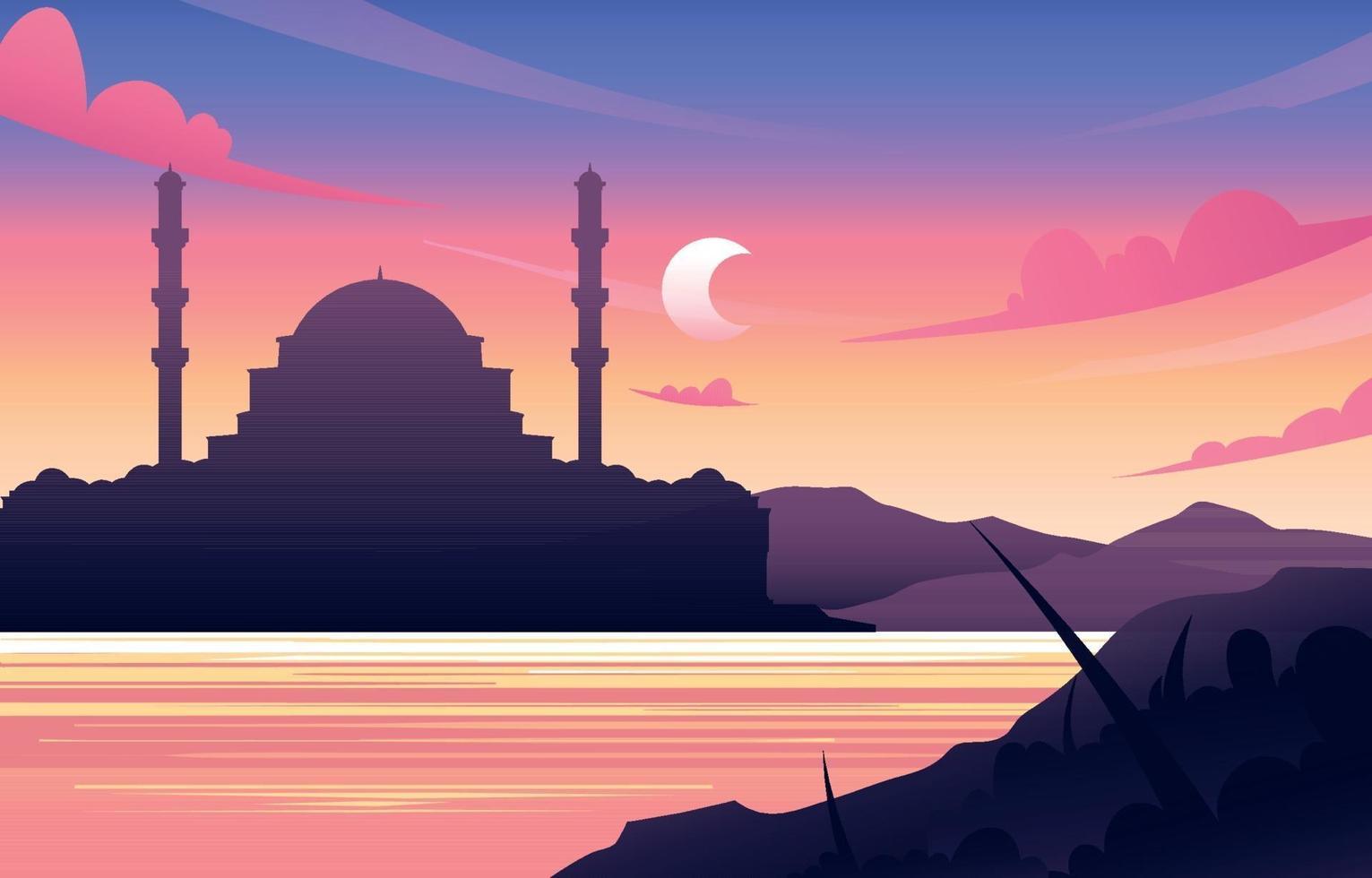 sfondo della moschea al tramonto vettore