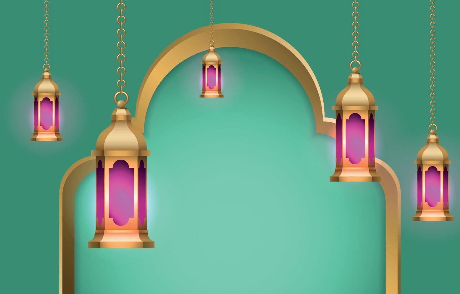 sfondo lanterna islamica vettore