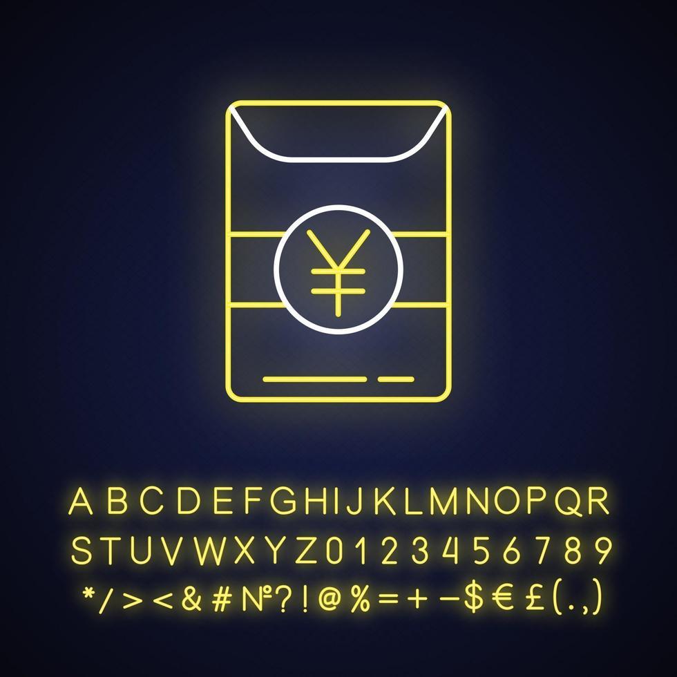 icona della luce al neon di hong bao vettore