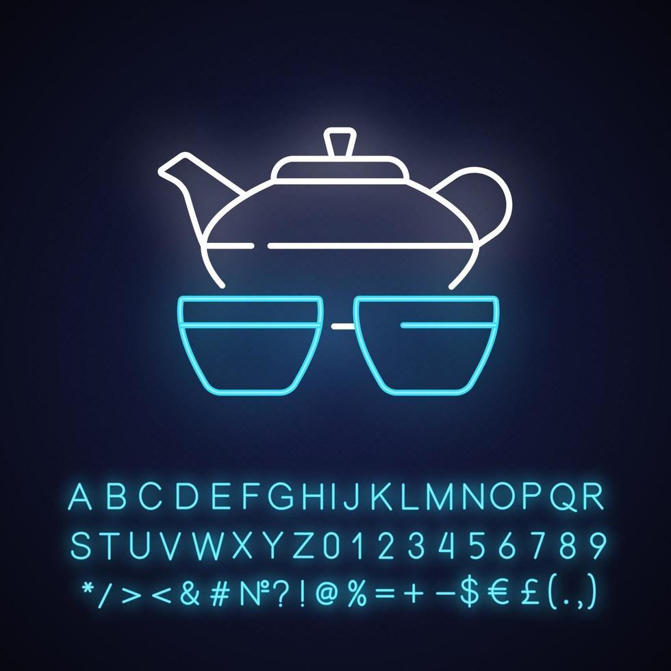 set da tè cinese icona luce al neon vettore