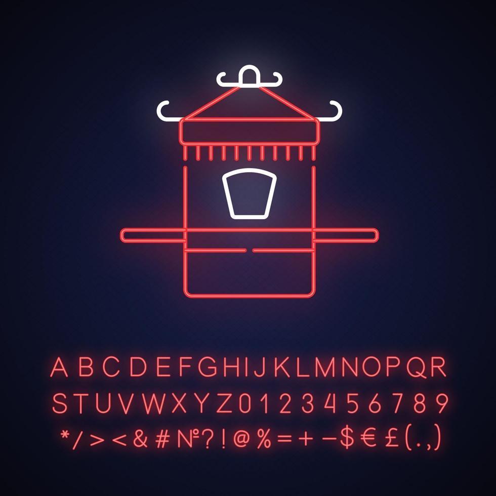 icona della luce al neon della portantina cinese vettore