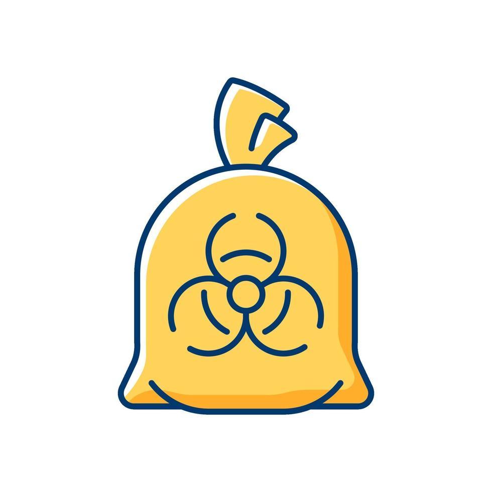 icona di colore rgb sacchetto dei rifiuti infettivi vettore