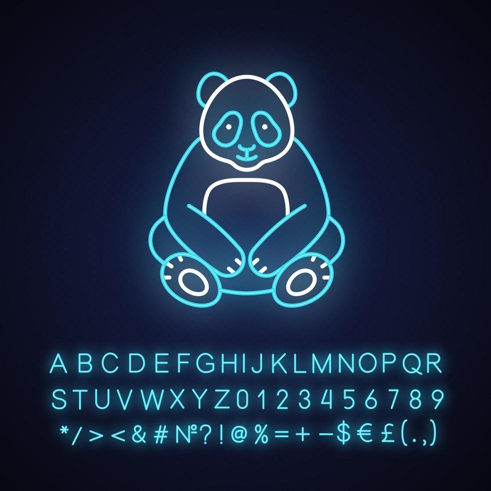 icona di luce al neon grande panda vettore
