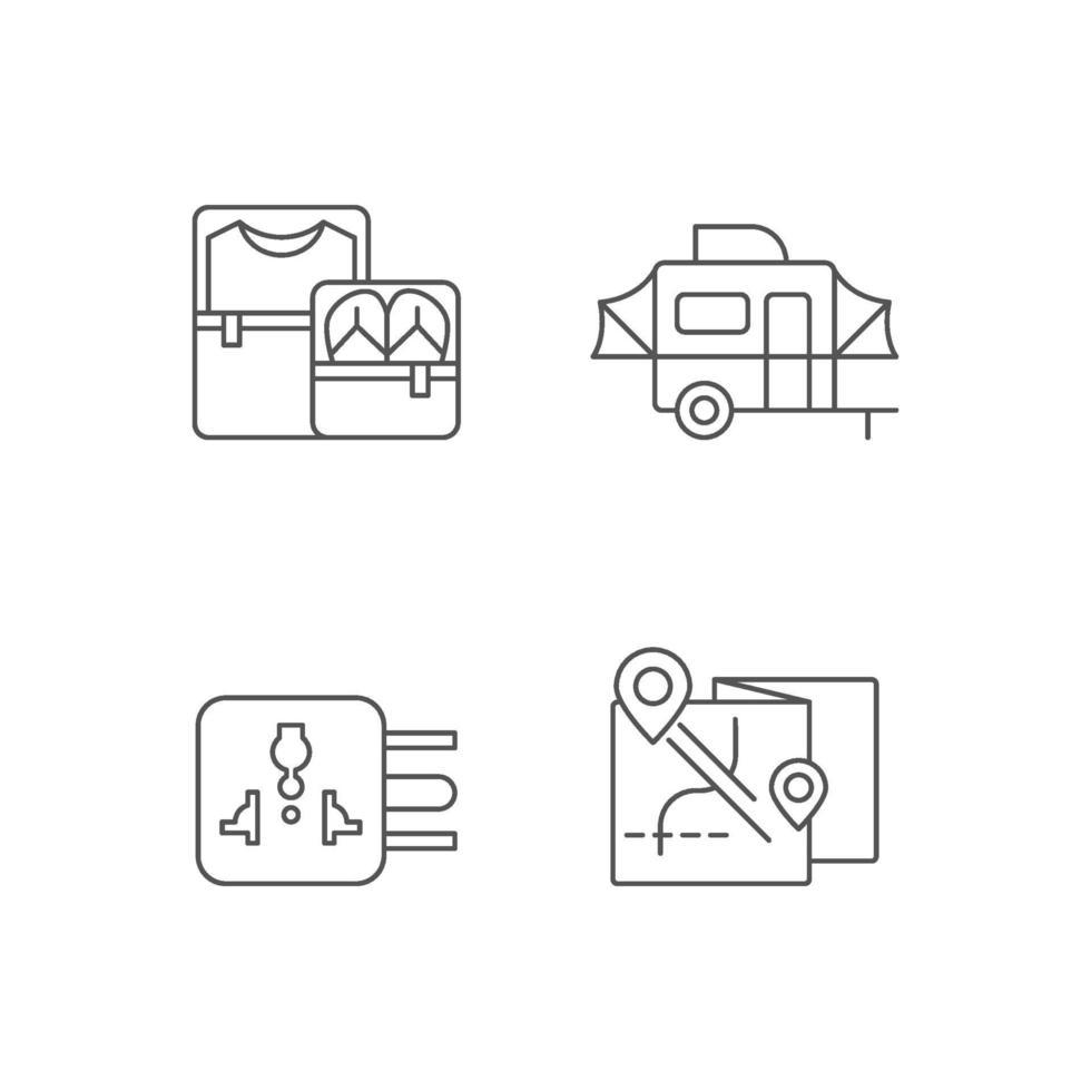 set di icone lineare del pacchetto di viaggiatori vettore
