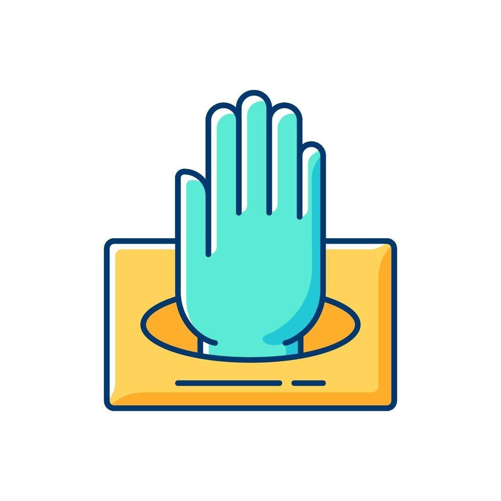 guanti in icona di colore box rgb vettore