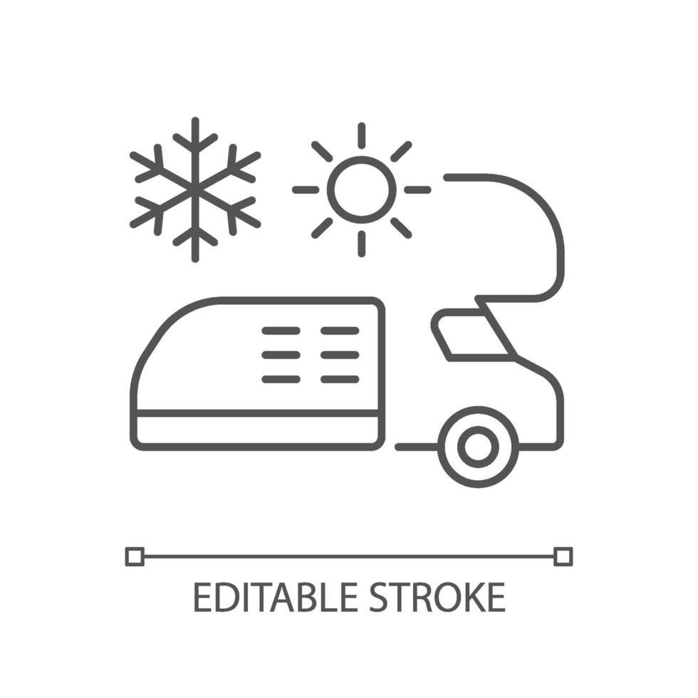 rv aria condizionata e riscaldamento icona lineare vettore