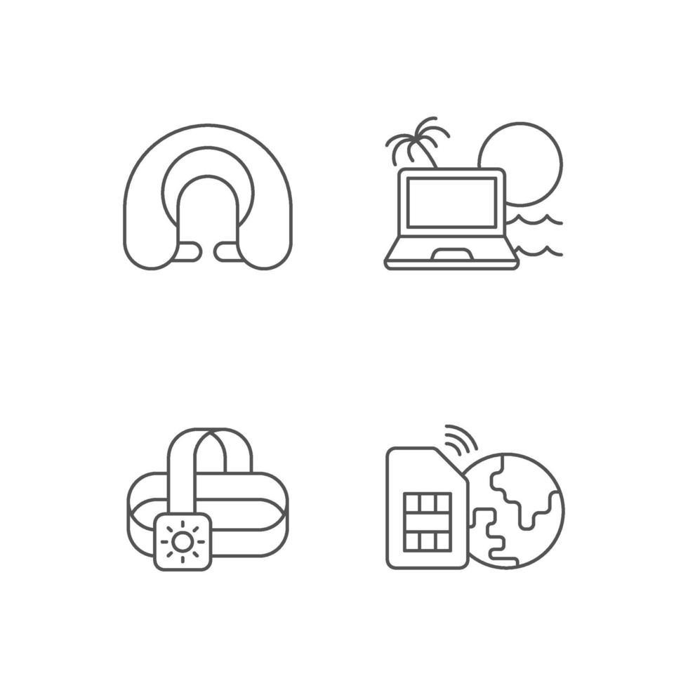 set di icone lineare stile di vita nomade vettore