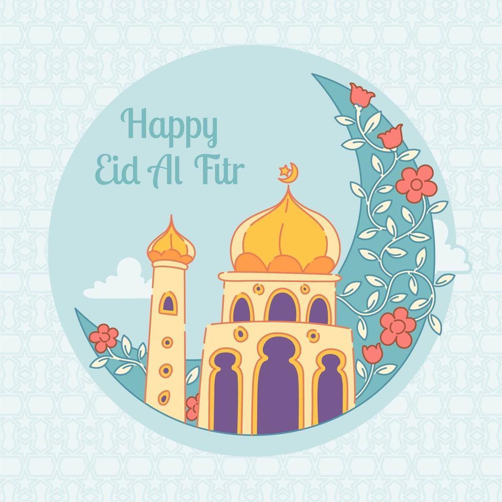 felice moschea di eid mubarak vettore