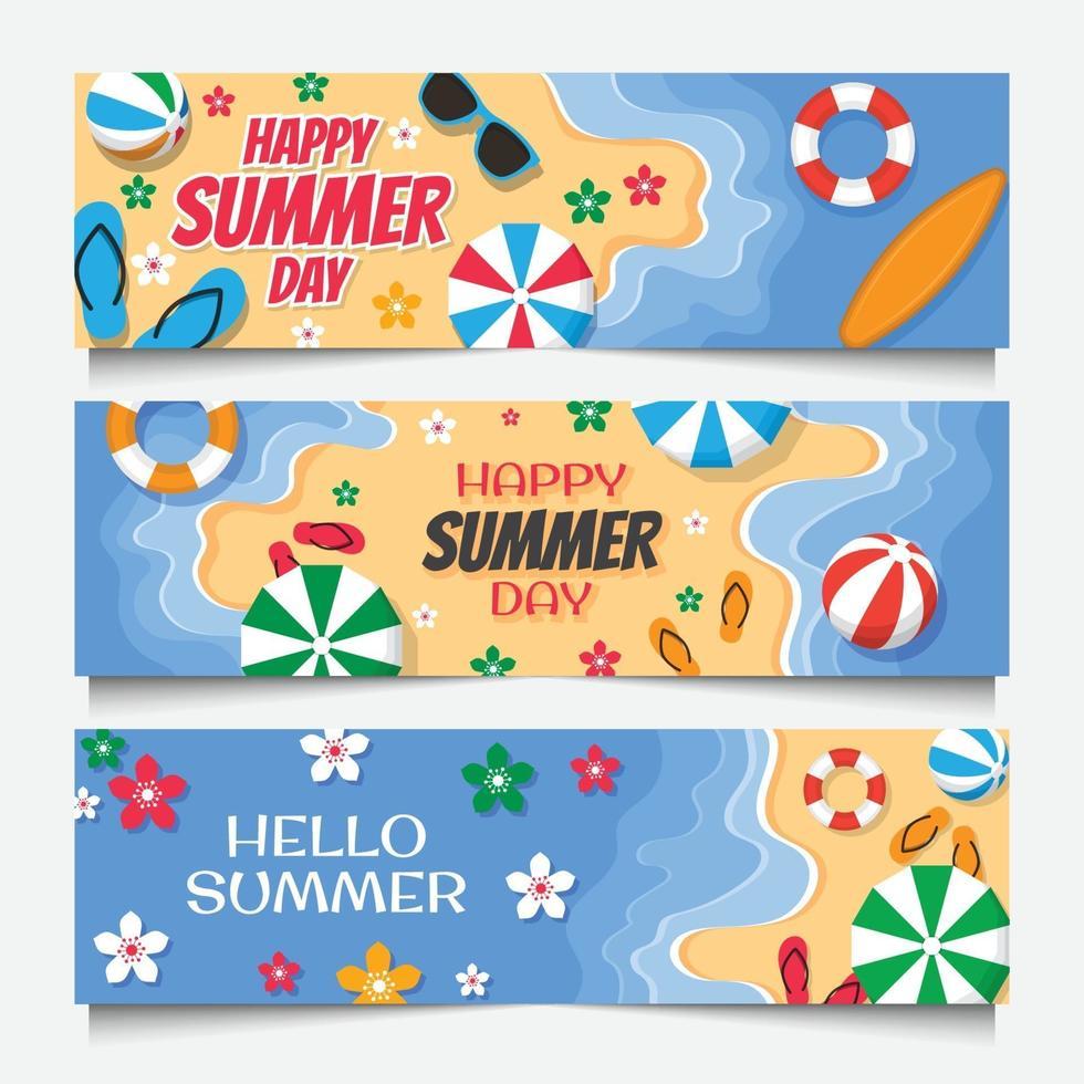 banner del giorno d'estate vettore