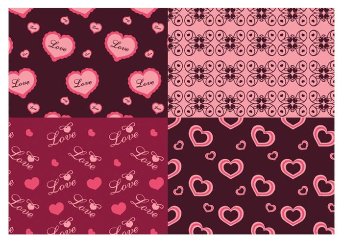 San Valentino Love Illustrator Patterns vettore