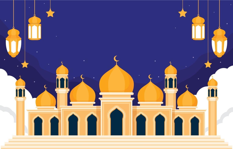 sfondo piatto moschea del ramadan vettore