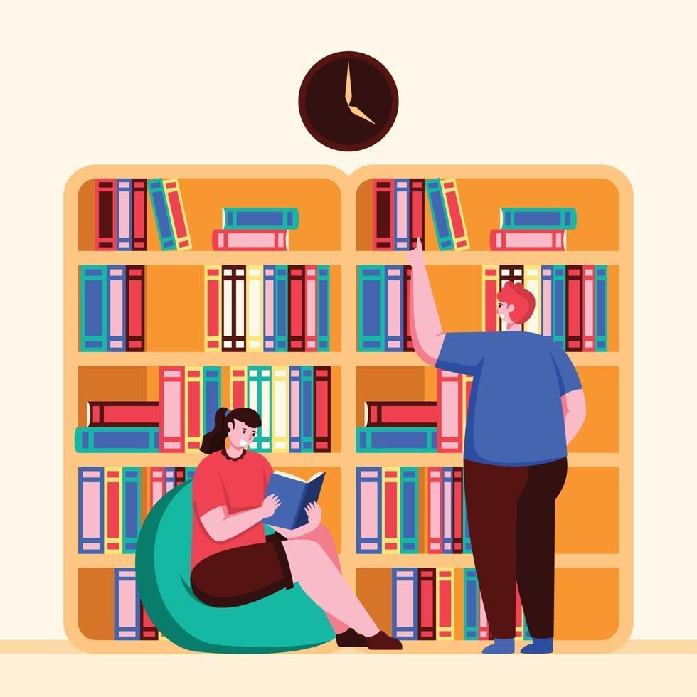 due persone che interagiscono nella biblioteca della scuola vettore