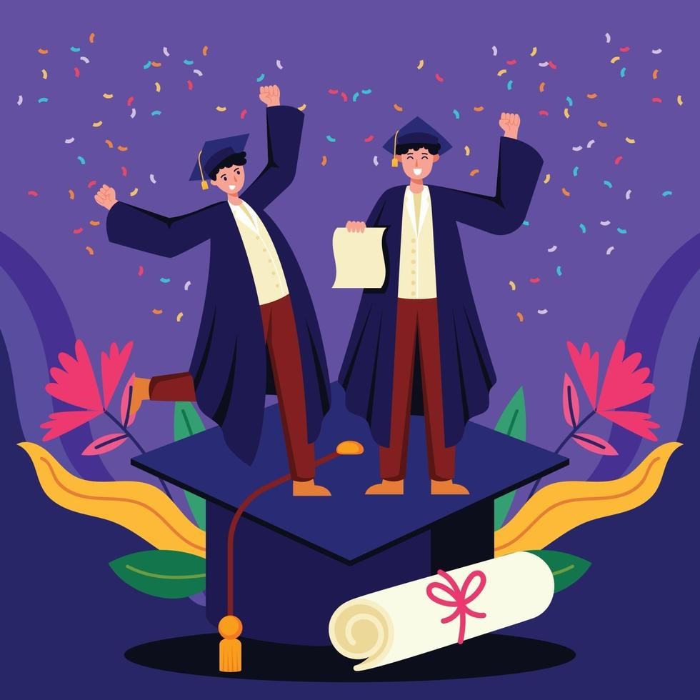 studenti universitari brillanti che celebrano la loro laurea vettore