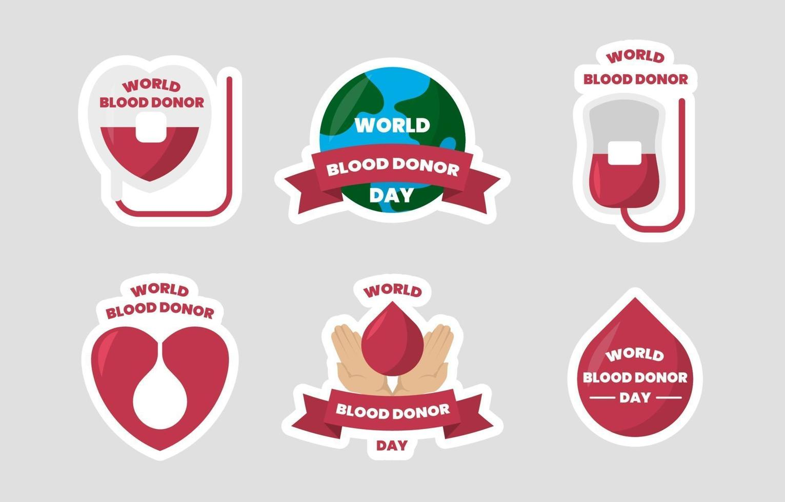 raccolta di adesivi per la giornata mondiale del donatore di sangue vettore