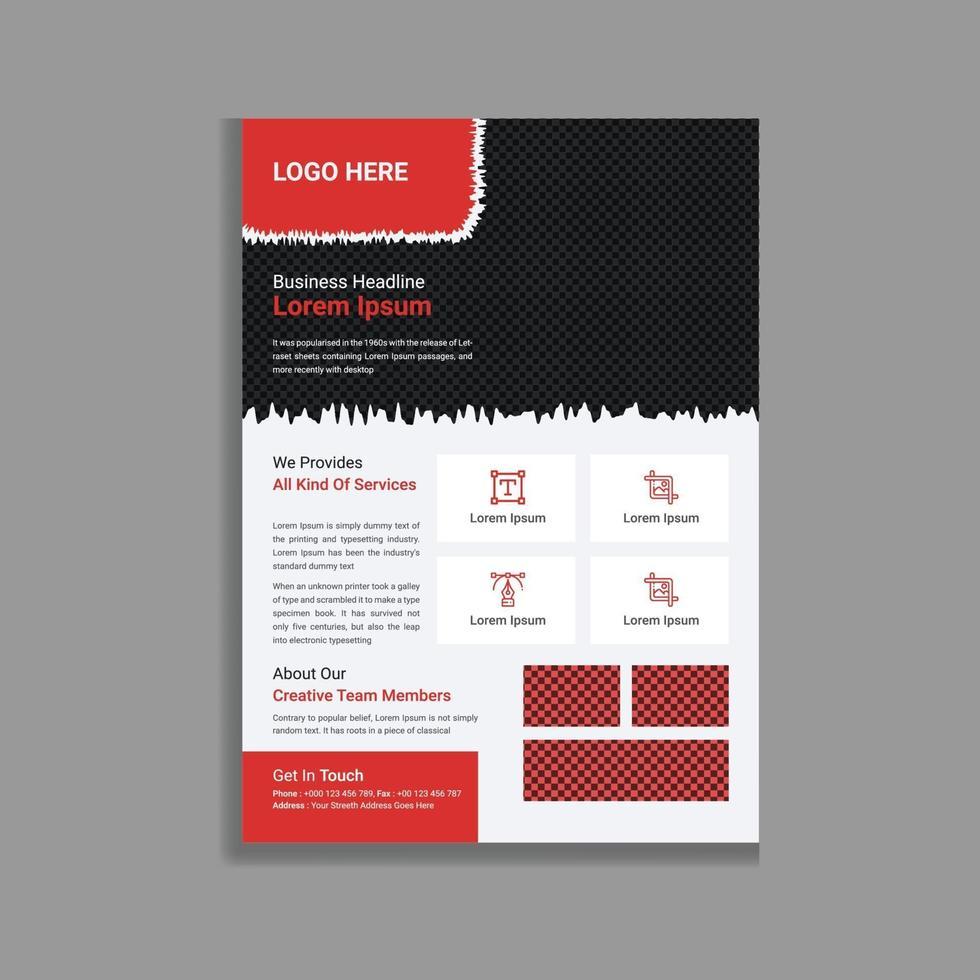 design modello volantino volantino promozionale rosso professionale e moderno aziendale vettore
