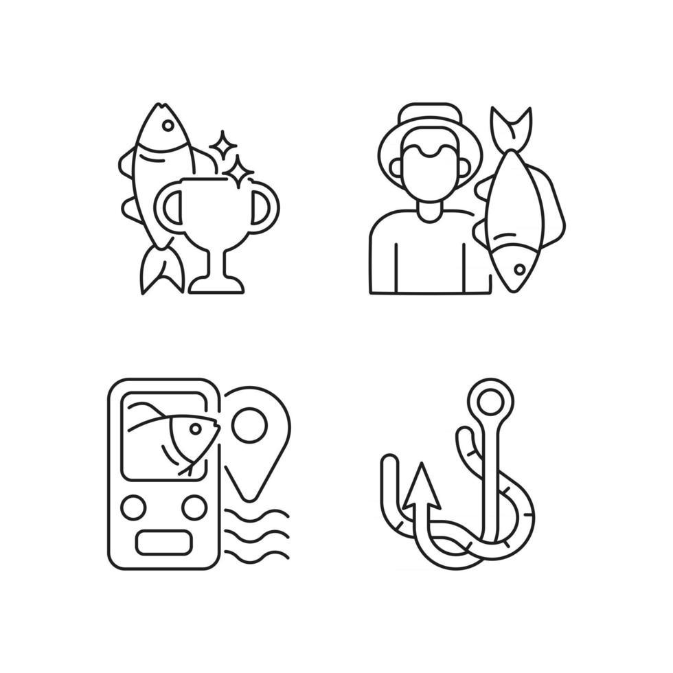 set di icone lineari di pesca vettore