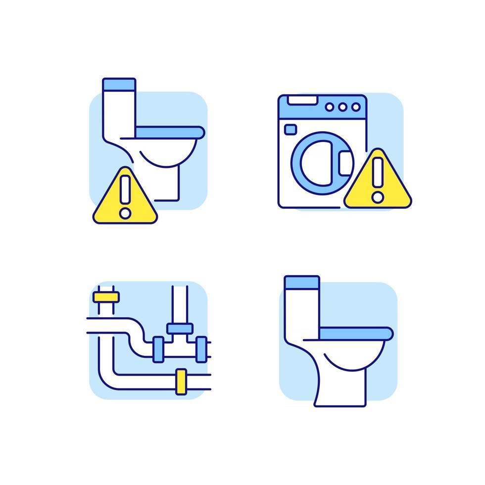 set di icone di colore rgb dell'impianto idraulico vettore
