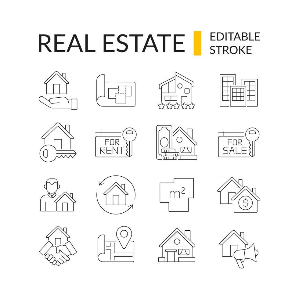 set di icone lineare immobiliare vettore
