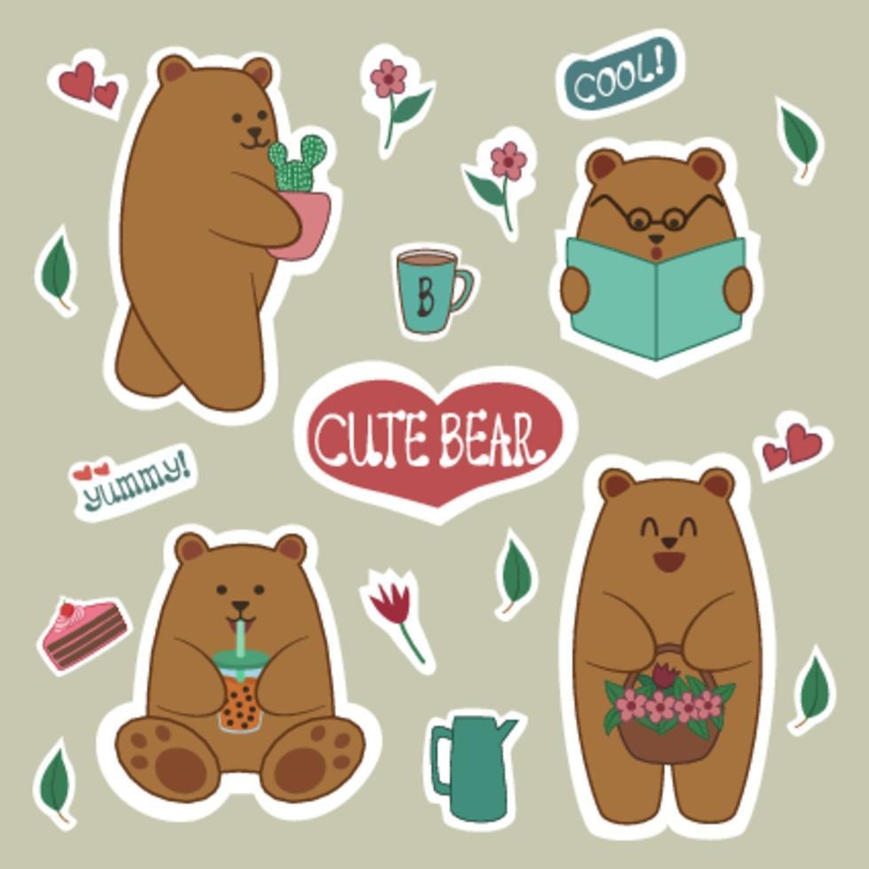 disegno vettoriale adesivo disegnato a mano su simpatico orso bruno