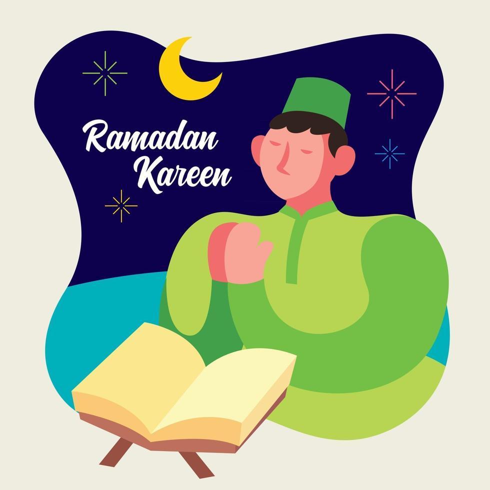 musulmano che prega con il libro del Corano durante la sera vettore