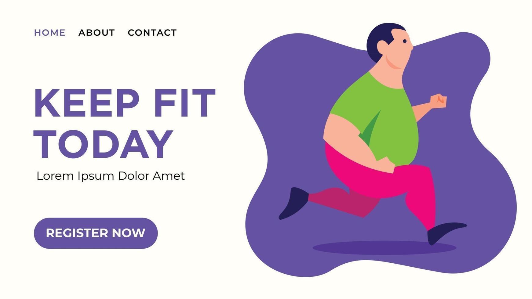 uomo grasso jogging per banner web vettore