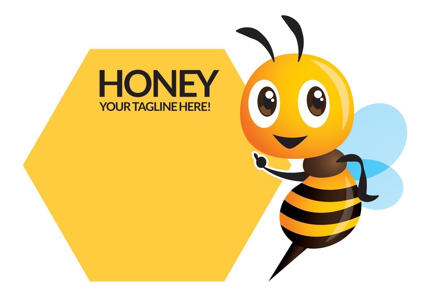 cartone animato carino ape che punta al nome di affari cartello vettore