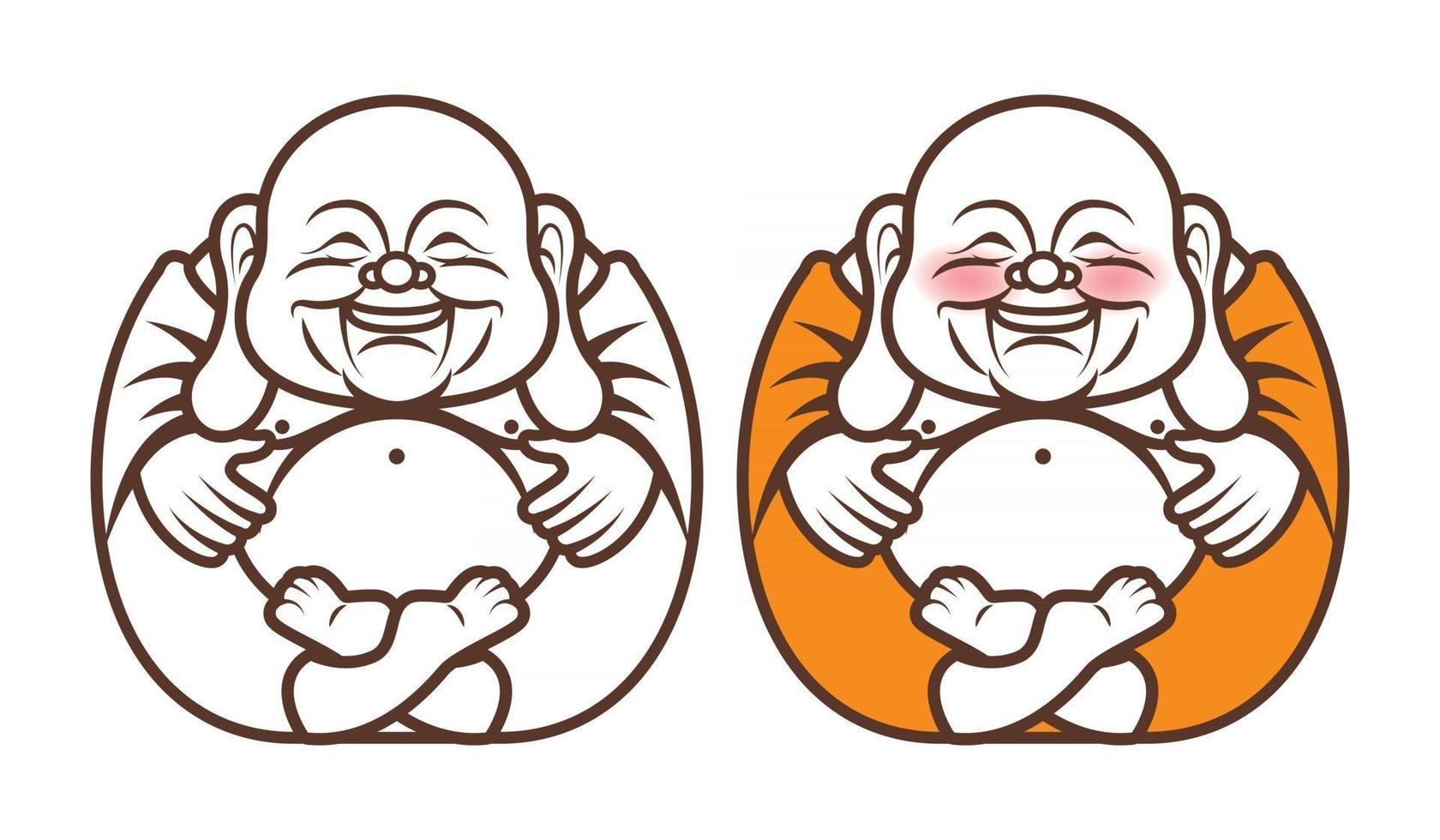 personaggio di buddha che ride con grande pancia vettore