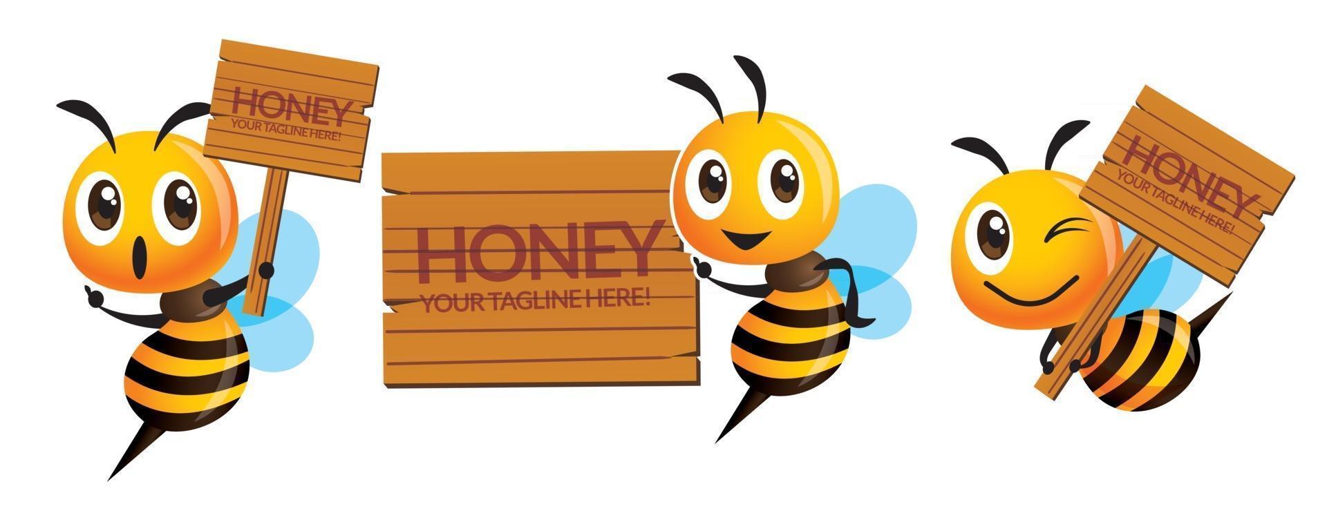 cartone animato carino serie di api tenendo e indicando su insegne in legno di nome di affari vettore