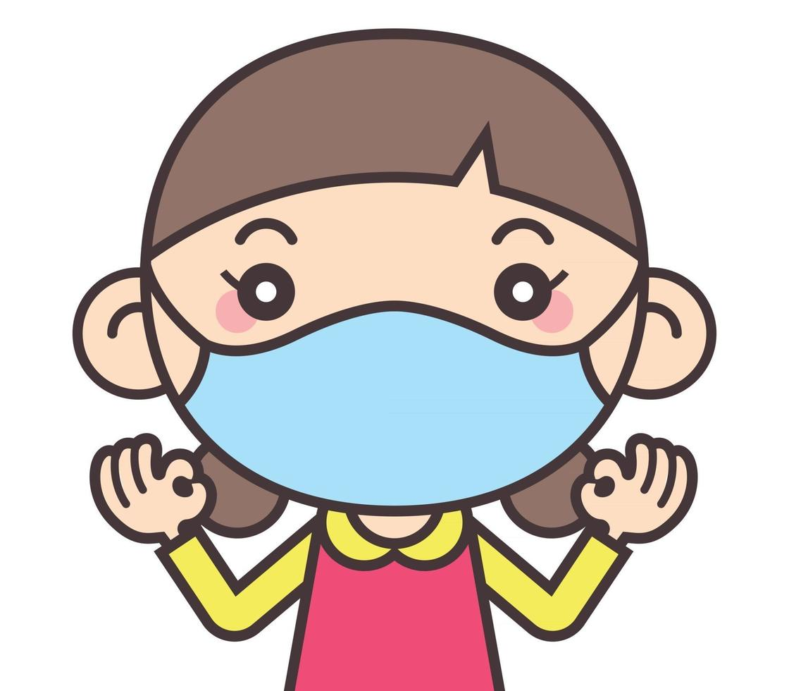 cartone animato carino bambina indossa una maschera per proteggersi da virus e malattie quando si torna a scuola vettore