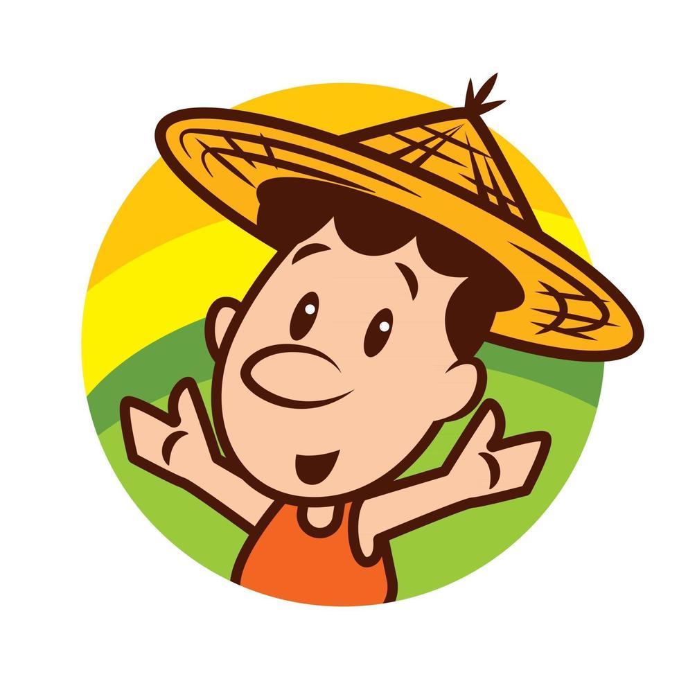 personaggio simpatico contadino dei cartoni animati che indossa un cappello di paglia da contadino con le mani benvenute sulla scena del campo naturale vettore