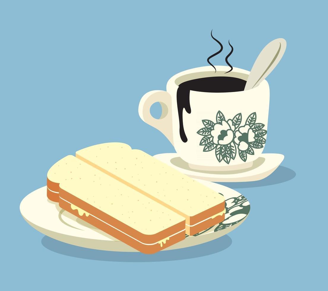 colazione tradizionale nanyang con pane cotto e tazza di caffè classica nanyang vettore
