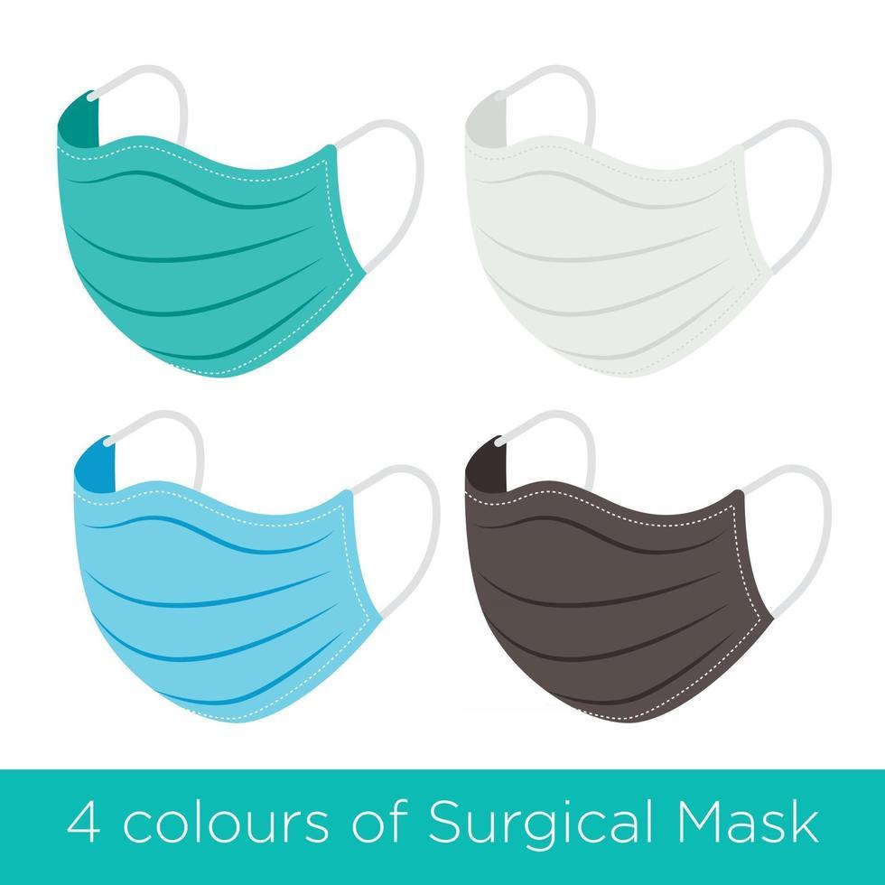 Maschera chirurgica a 4 colori per prevenire i virus in caso di pandemia vettore