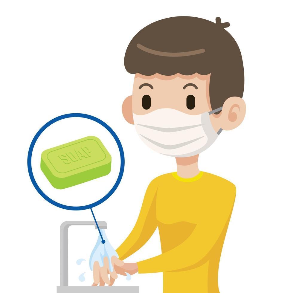 giovane maschio che indossa la maschera per il viso lavarsi le mani con sapone per proteggersi da virus e batteri vettore