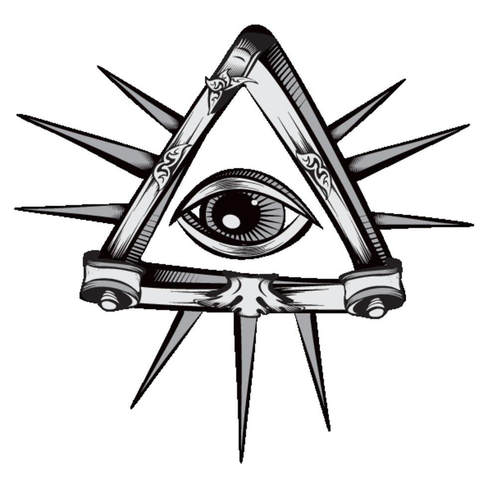 simbolo mistico dell'occhio vedente tutto decorativo vettore