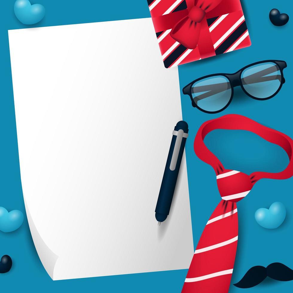 carta bianca con cravatta, regalo, occhiali e baffi per la festa del papà vettore