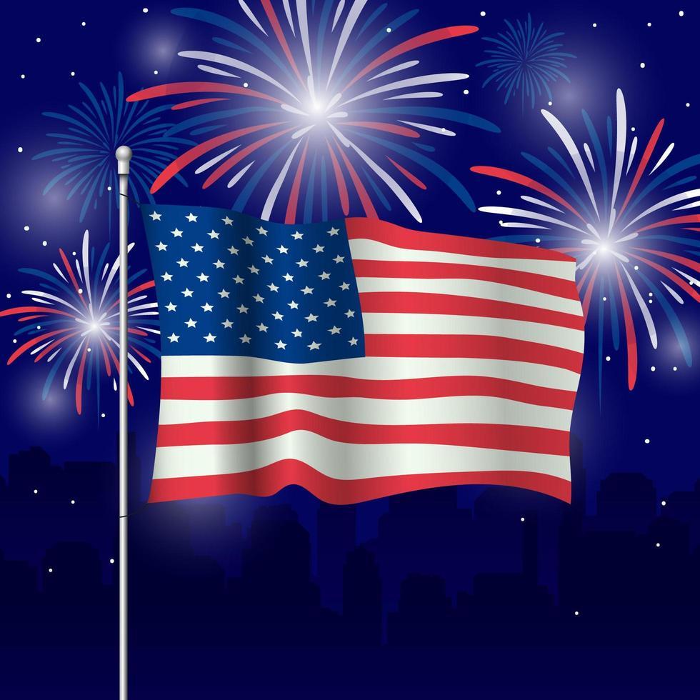 bandiera degli Stati Uniti con sfondo di fuochi d'artificio vettore