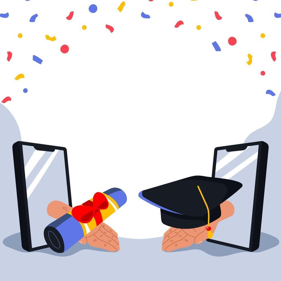 sfondo di celebrazione della laurea in linea vettore