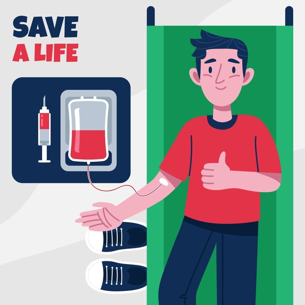 uomo che dona il suo sangue sul letto medico vettore