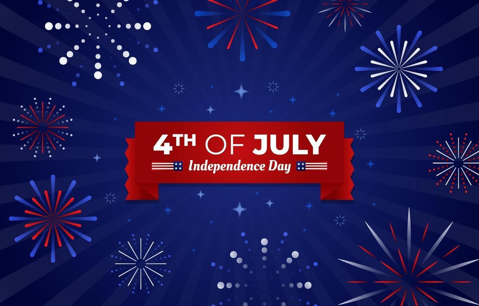 4 luglio fuochi d'artificio vettore