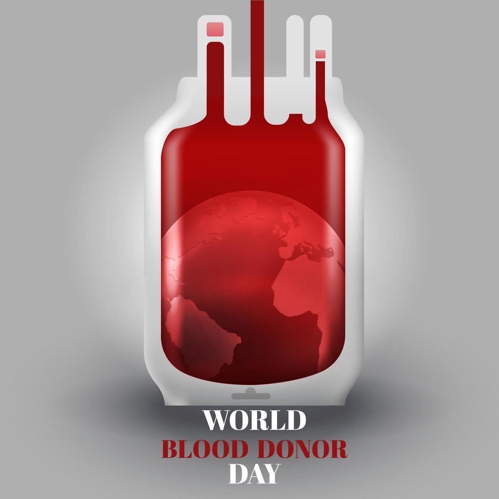 illustrazione realistica della sacca di sangue per la giornata mondiale del donatore di sangue vettore