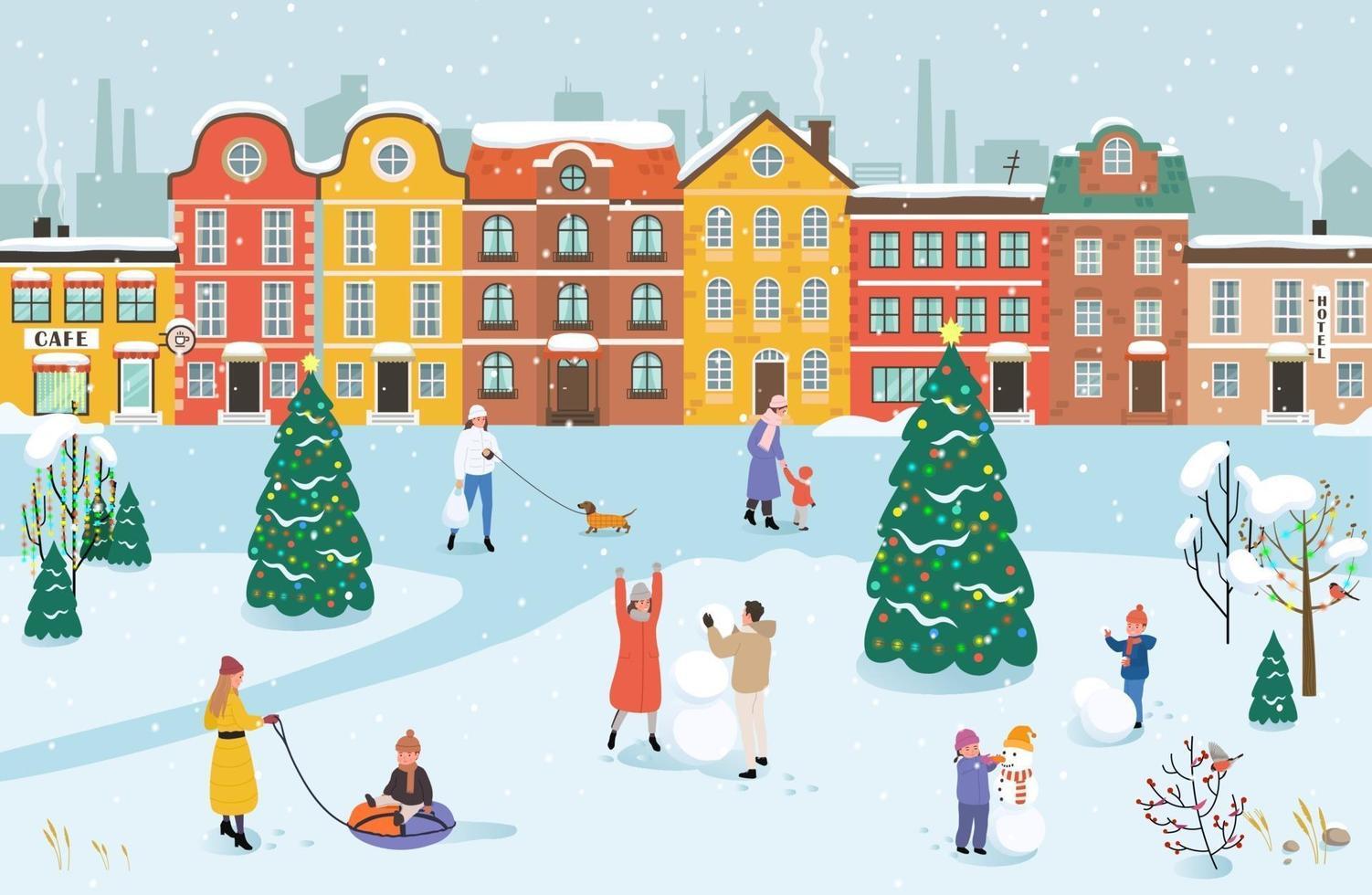 le persone camminano nel parco in inverno vettore