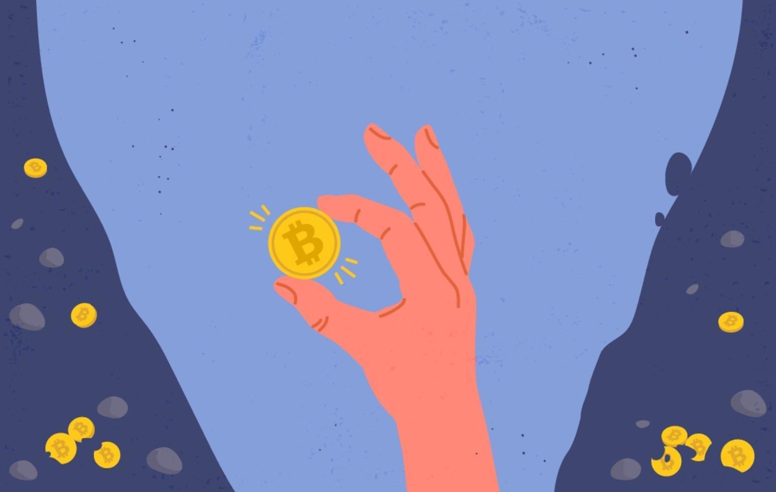 moneta bitcoin in mano vettore