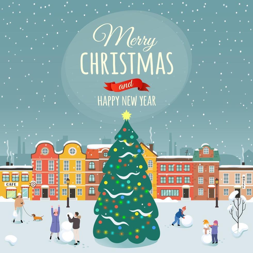 illustrazione vettoriale con le congratulazioni del buon Natale