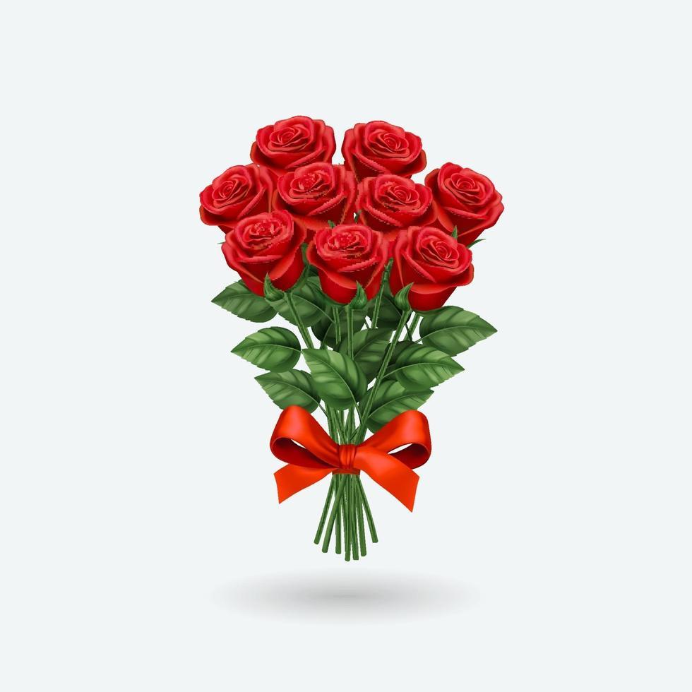 rosa rossa realistica vettore