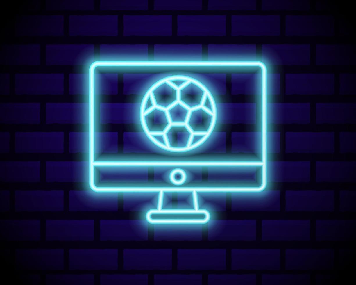 vettore di segno al neon di calcio dal vivo. neon logo di calcio dal vivo, emblema del modello di progettazione, simbolo di calcio online, banner luminoso, pubblicità di calcio notturno luminoso, segno di calcio europeo. illustrazione vettoriale isolato su un muro di mattoni.