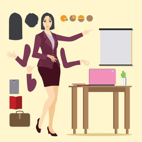 Illustrazione della donna professionale asiatica con i vestiti della donna di affari vettore