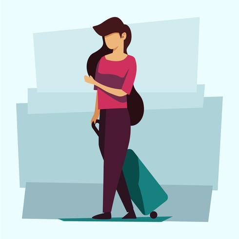 donna con la valigia vettore