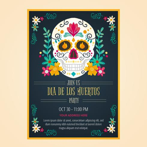 Flyer Day Of Dead In stile acquerello vettore