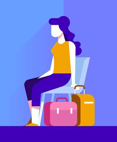 Donna con l'illustrazione della valigia vettore