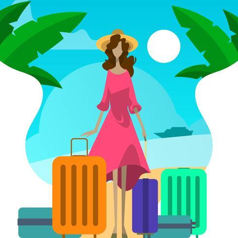 Donna piana con la valigia in vacanza nell'illustrazione di vettore della spiaggia